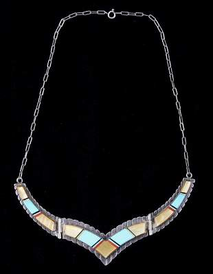 Navajo Silver Turquoise & Mother of Pearl Necklace