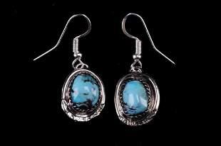 Navajo Gloria Etsitty Silver & Turquoise Earrings