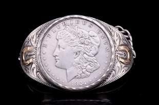 Navajo 1921 Morgan Dollar 10k Gold Bracelet