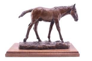 Original Bob Scriver Colt Bronze Sculpture c. 1995