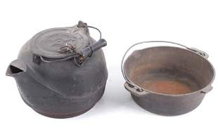 Large Cast Iron Water Kettle & Cast Iron Pot