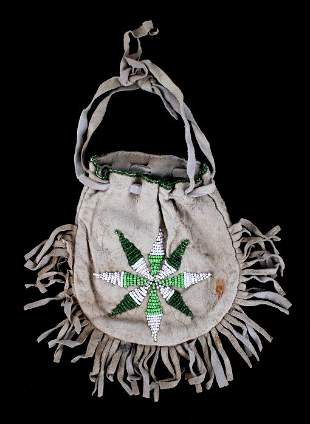 Cheyenne Morning Star Beaded Drawstring Bag