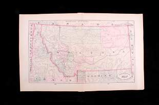 1882 New Rail Road & Cty. Map Of MT, ID, UT, WY