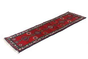 Sarouk Persian Hand Knotted Wool Runner Rug 1930s