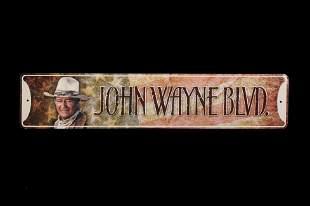 20th Century John Wayne BLVD. Metal Collector Sign