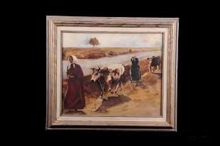 Original Catta Beggs Oil on Canvas circa 1900's