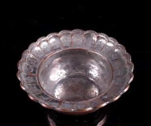 20th C. Persian Tin Copper Tone Scalloped Bowl