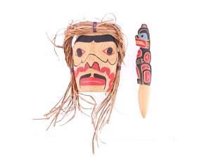 Pacific Northwest Tribe Warrior Mask & Wand