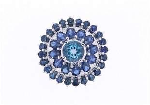 London Blue Topaz & Blue Sapphire 14k Gold Ring
