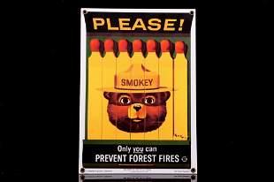 Smokey Bear U.S. Forest Service Porcelain Sign
