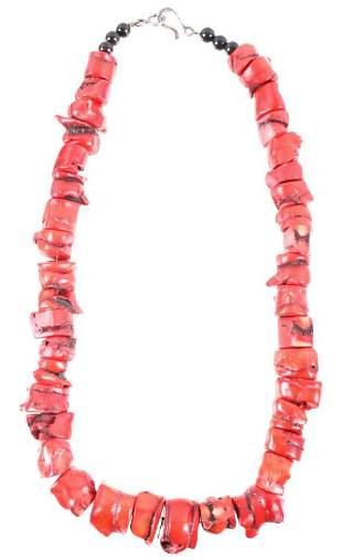 Navajo Red Branch Coral Nugget Necklace