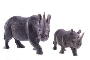 Kenya, East African Blackwood Carved Rhino Pair