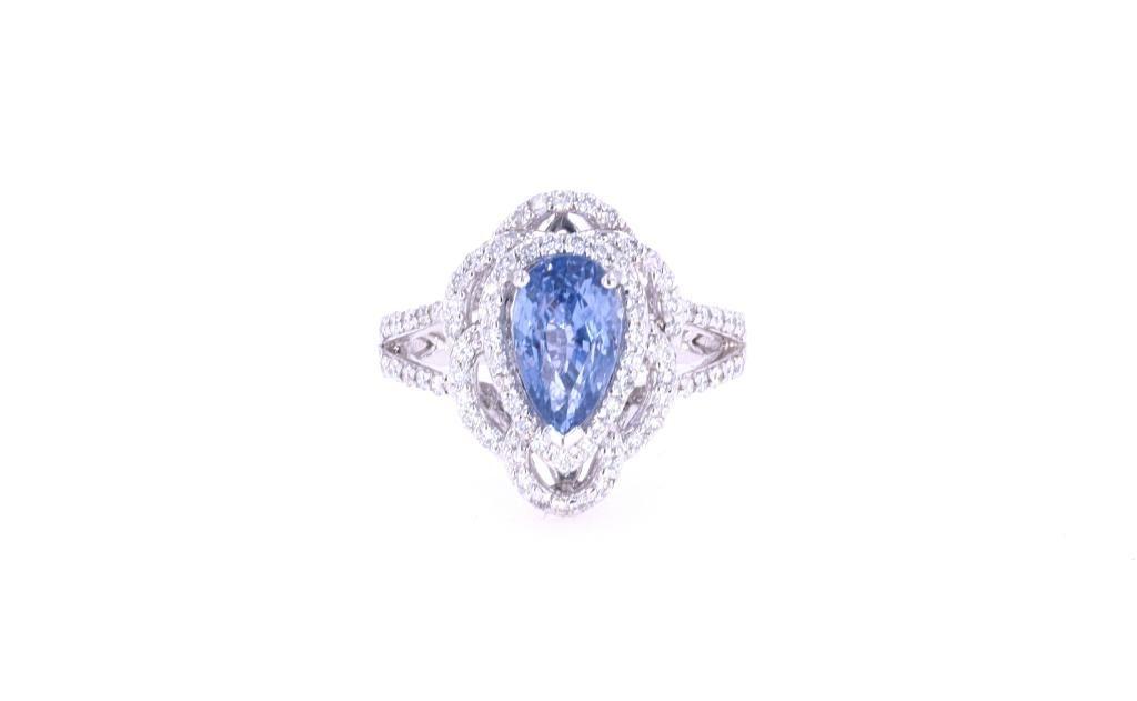 Montana Corn Blue Sapphire Diamond & Platinum Ring