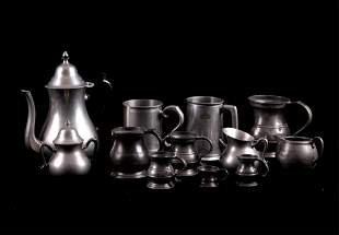 English & Holland Pewter Cups & Creamer Servers
