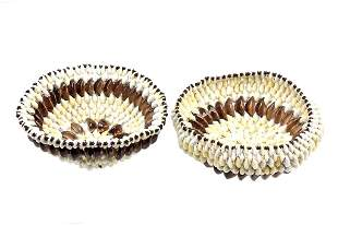 Nigerian African Cowrie Shell Basket Bowl Pair