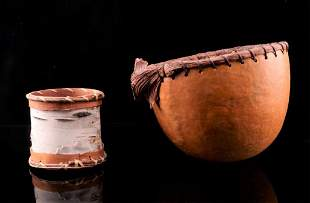 Native American Handmade Gourd & Birch Bowls