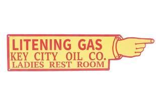 Litening Gas Key City Oil Co Ladies Rest Room Sign