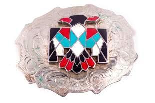 Navajo Silver Inlaid Thunderbird Buckle c. 1950