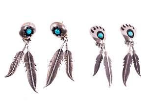 Navajo Silver & Turquoise Shadowbox Earrings