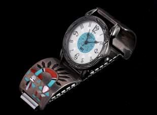 Zuni F.L. Natachu Sterling Silver Mosaic Watchband
