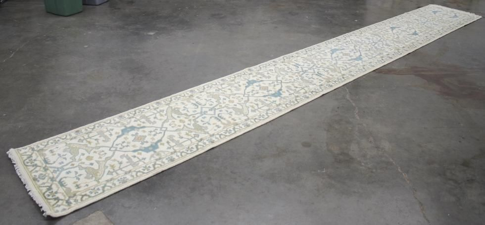 Oushak Persian Hand Knotted Wool Runner Rug 1930's