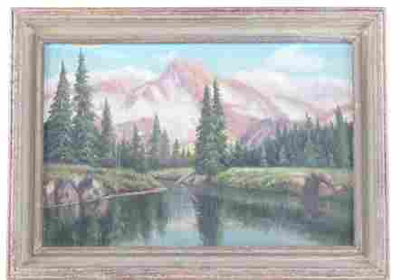 Western Mountain Pond Painting by M. Donnelly 1900