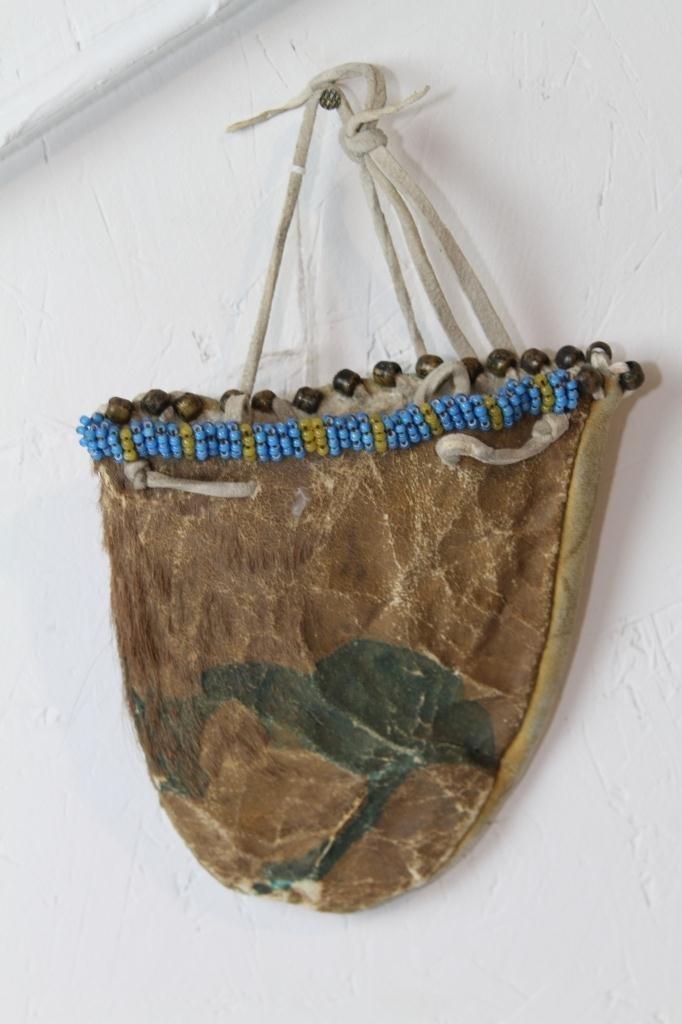 11: White Hearts Effigy Indian Buffalo Pouch