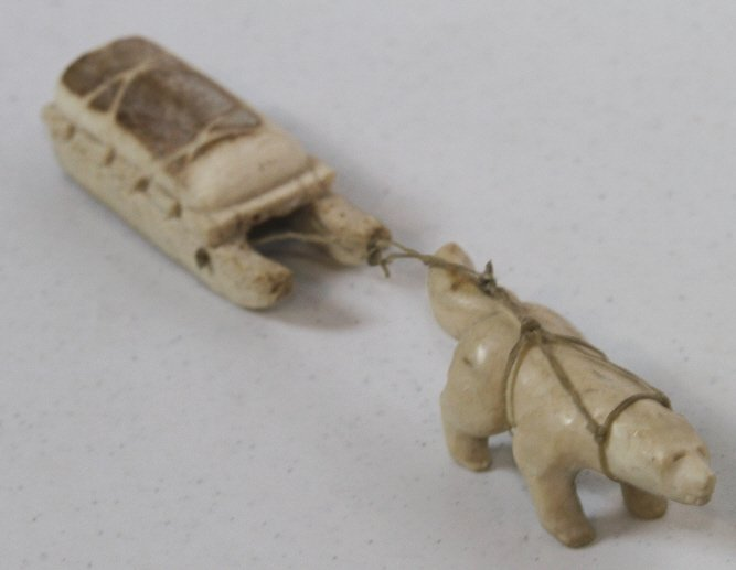 22: Elk Antler Inuit Carved Dog & Sled