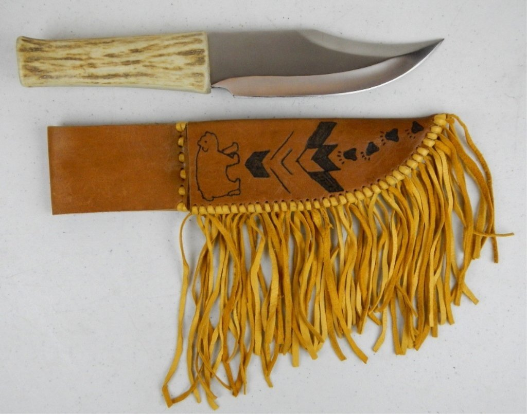 Native American Antler Handle Knife