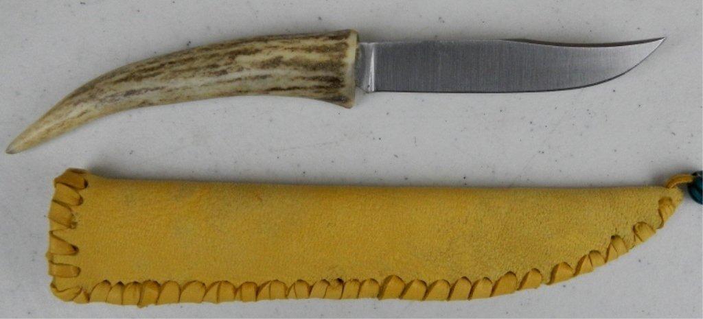 Native American Antler Knife and Elk Scabbard