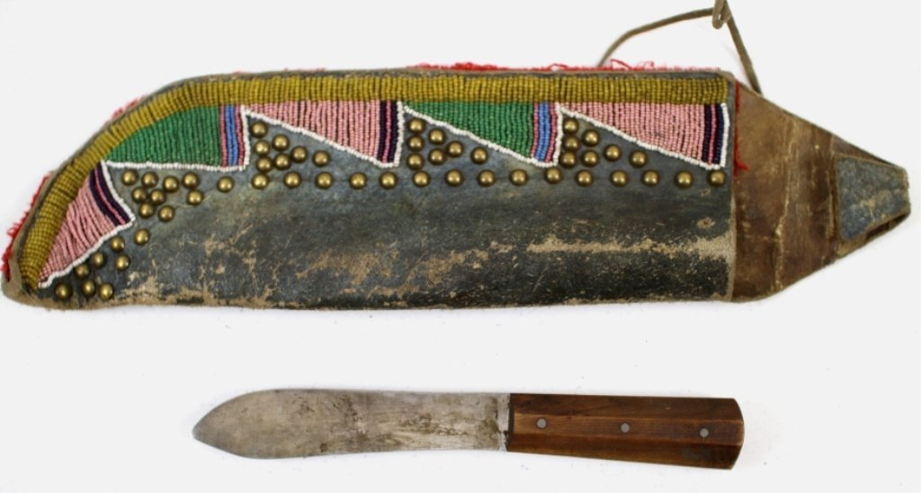 Sioux Beaded Scabbard and Antique Knife
