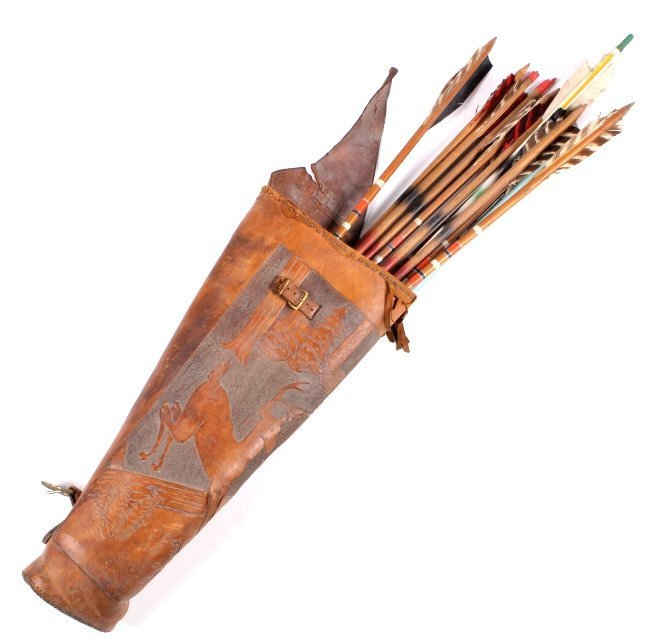 1920-1950's Leather Quiver and Arrows