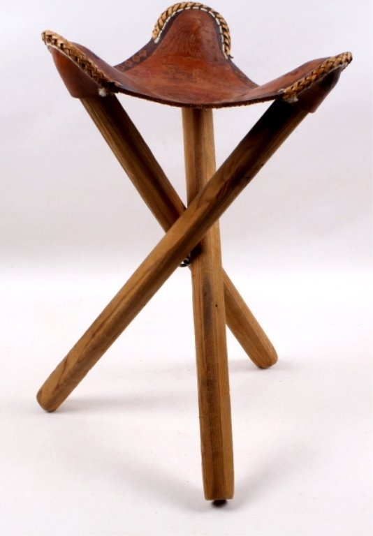 Hand-Tooled Native American Stool
