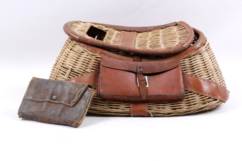 Antique Fishing Creel with Fly-Fishing Wallet