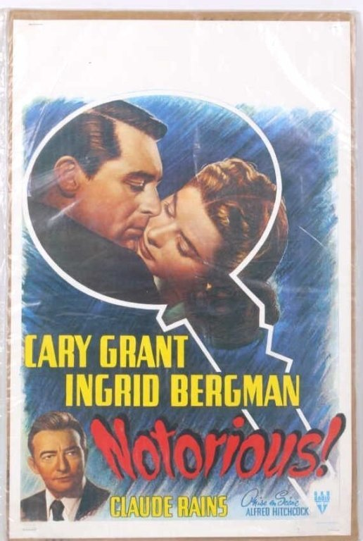 """Notorious"" Alfred Hitchcock Movie Poster 1946"