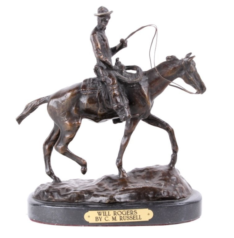 Will Rogers by C.M. Russell Bronze