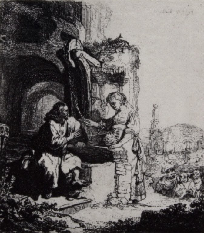 """"""" Christ and the Woman of Samari """" by Rembrandt"""
