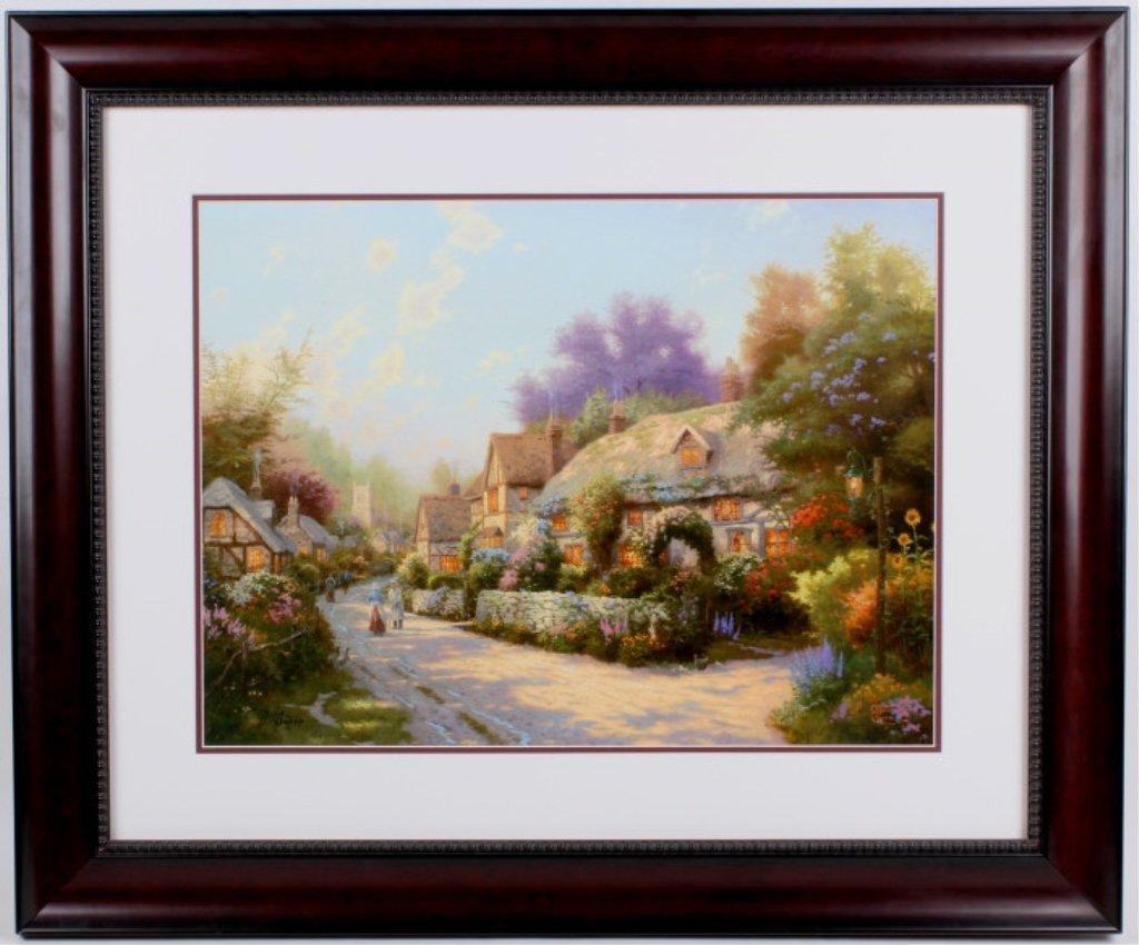 """Cobblestone Village"" by Thomas Kinkade Litho."