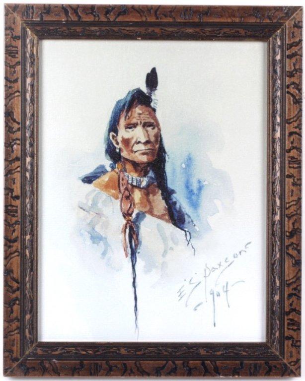 Native American Portrait by E.S. Paxson Print