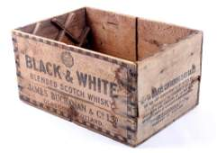 Black  White Scotch Whiskey Buchanan Wood Box