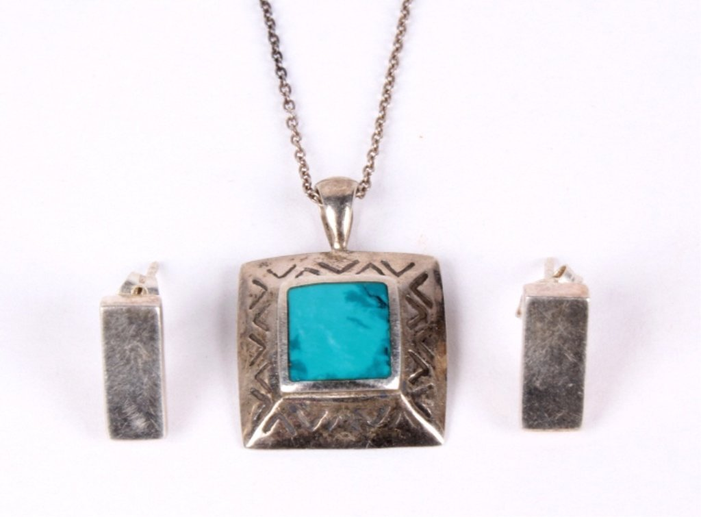 Navajo Turquoise and Silver Earrings with Necklace