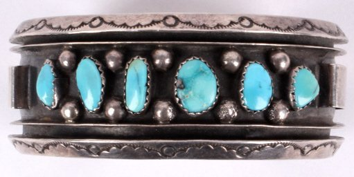 1930's Navajo Turquoise and Sterling Bracelet