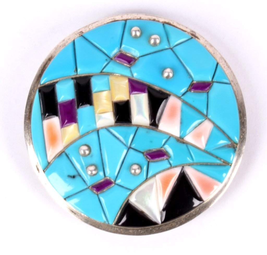 Native American Zuni Sterling Inlayed Belt Buckle