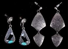 Southwestern Indian Silver Earrings 2 sets The l