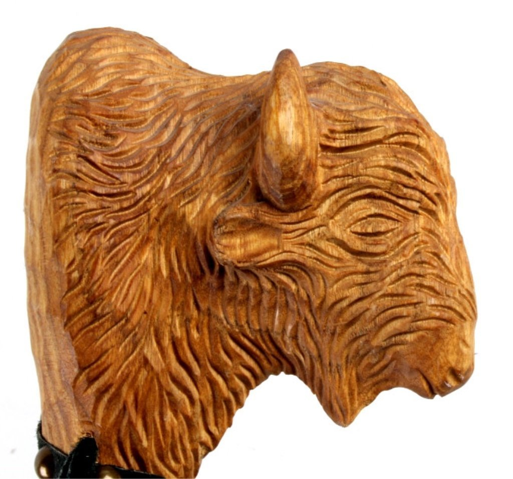 Hand Carved Buffalo Head Walking Stick This presen