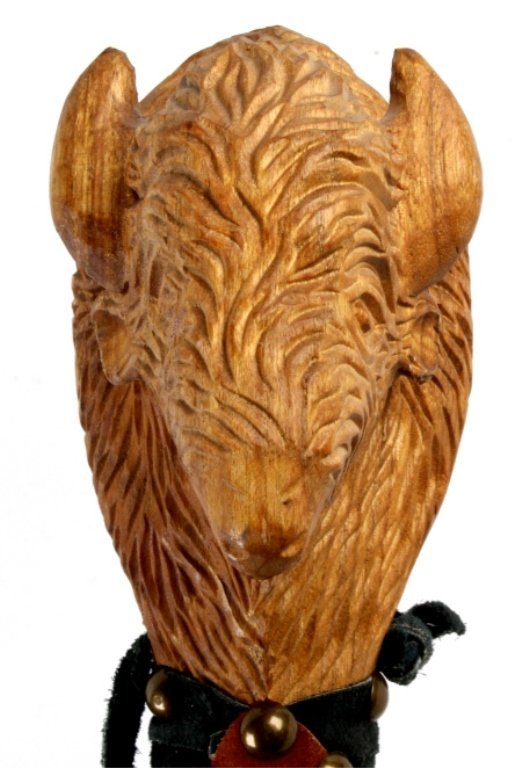 Hand Carved Buffalo Head Walking Stick This presen - 4