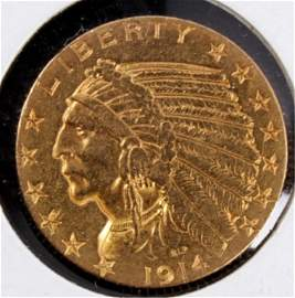 1914 S $5 Gold Coin This is a very rare 1914 S $5