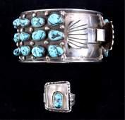 Navajo Turquoise Silver Bracelet  Ring