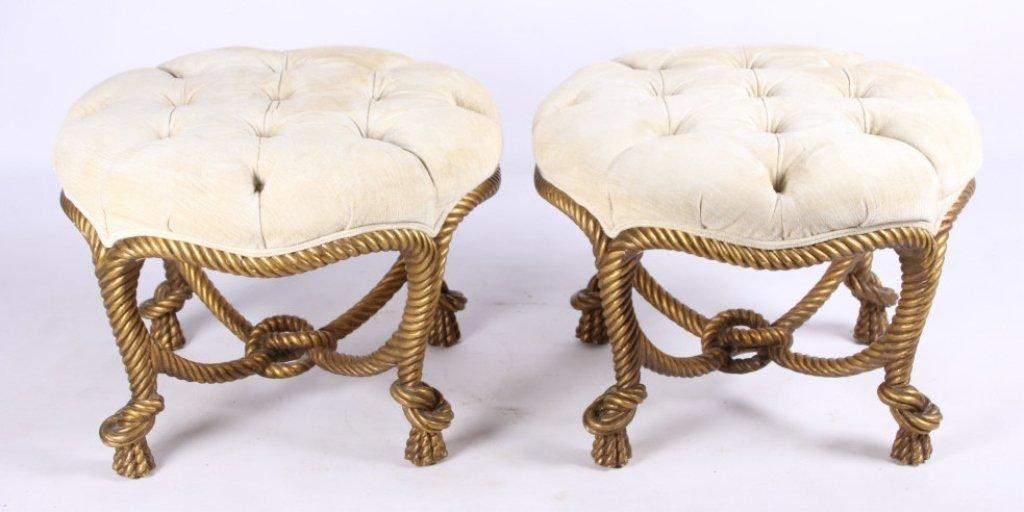 French Napoleon III Gilt Wood Rope Stool Set The l