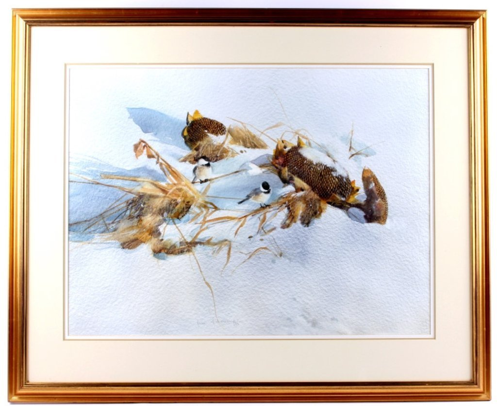Chickadees in the Snow by Jean Halverson Montana T - 2